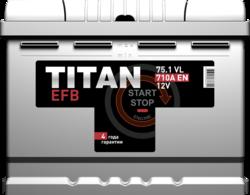 Аккумулятор автомобильный TITAN EFB 75ah 6СТ-75.1 VL