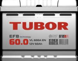 Аккумулятор автомобильный TUBOR EFB 60ah 6СТ-60.0 VL