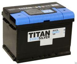 Аккумулятор автомобильный TITAN EUROSILVER 60ah 6СТ-60.0 VL (низк)