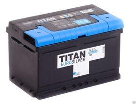 Аккумулятор TITAN EUROSILVER 74ah, 6СТ-74.0 VL (низк)