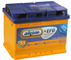 Аккумулятор автомобильный АКОМ EFB 55 а/ч 6СТ-55 VL R+