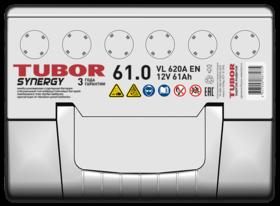 Аккумулятор TUBOR SYNERGY 61ah, 6СТ-61.0 VL