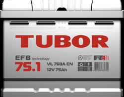 Аккумулятор автомобильный TUBOR EFB 75ah 6СТ-75.1 VL