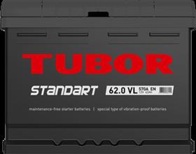 Аккумулятор TUBOR STANDART 62ah, 6СТ-62.0 VL