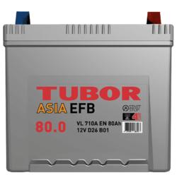 Аккумулятор автомобильный TUBOR ASIA EFB 80ah 6СТ-80.0 VL B01